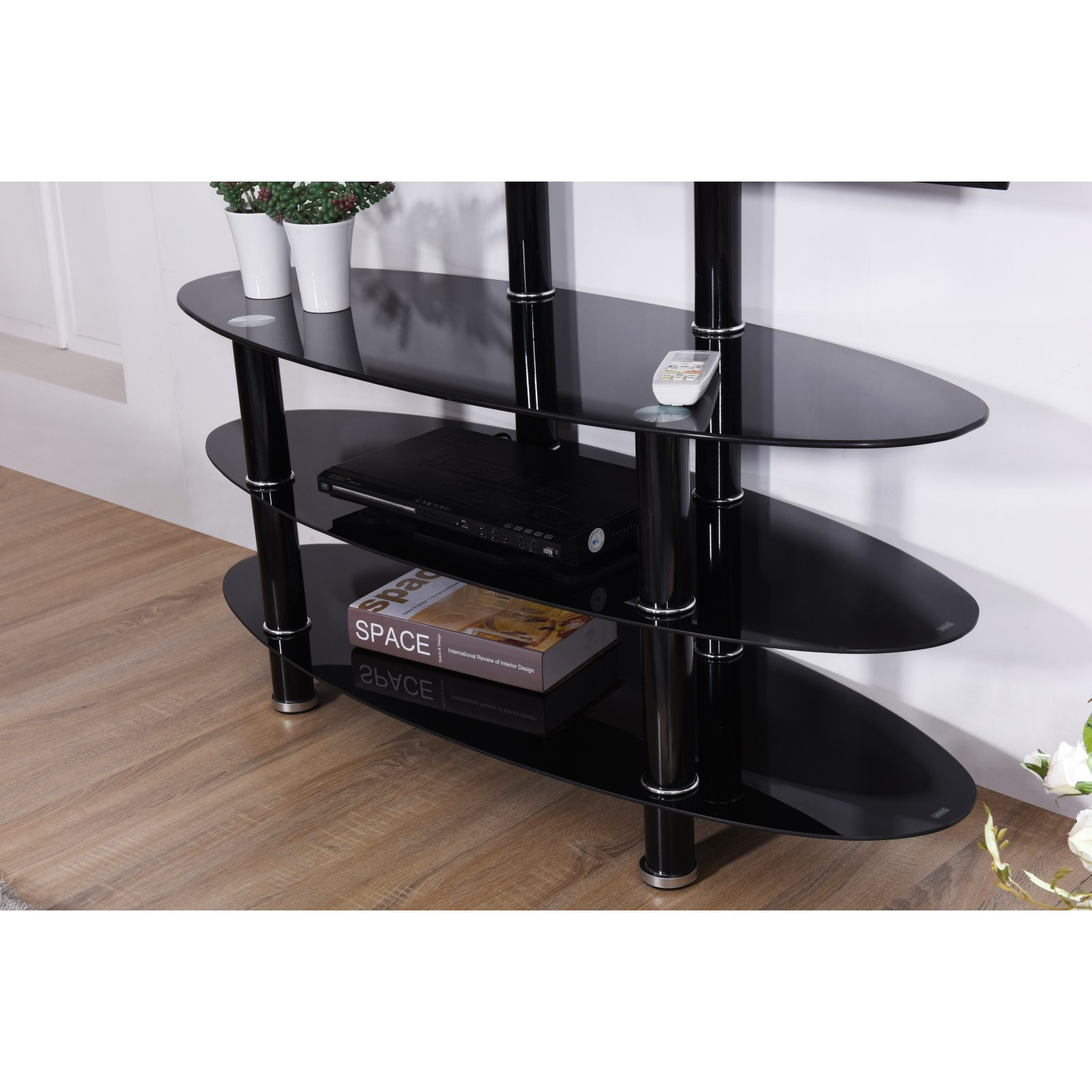 Hodedah Imports 43 in. Oval TV Stand with Mount