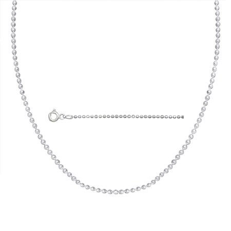 Sterling Silver Italian Ball Bead Chain 1Mm Dog Tag Necklace 18 Inch