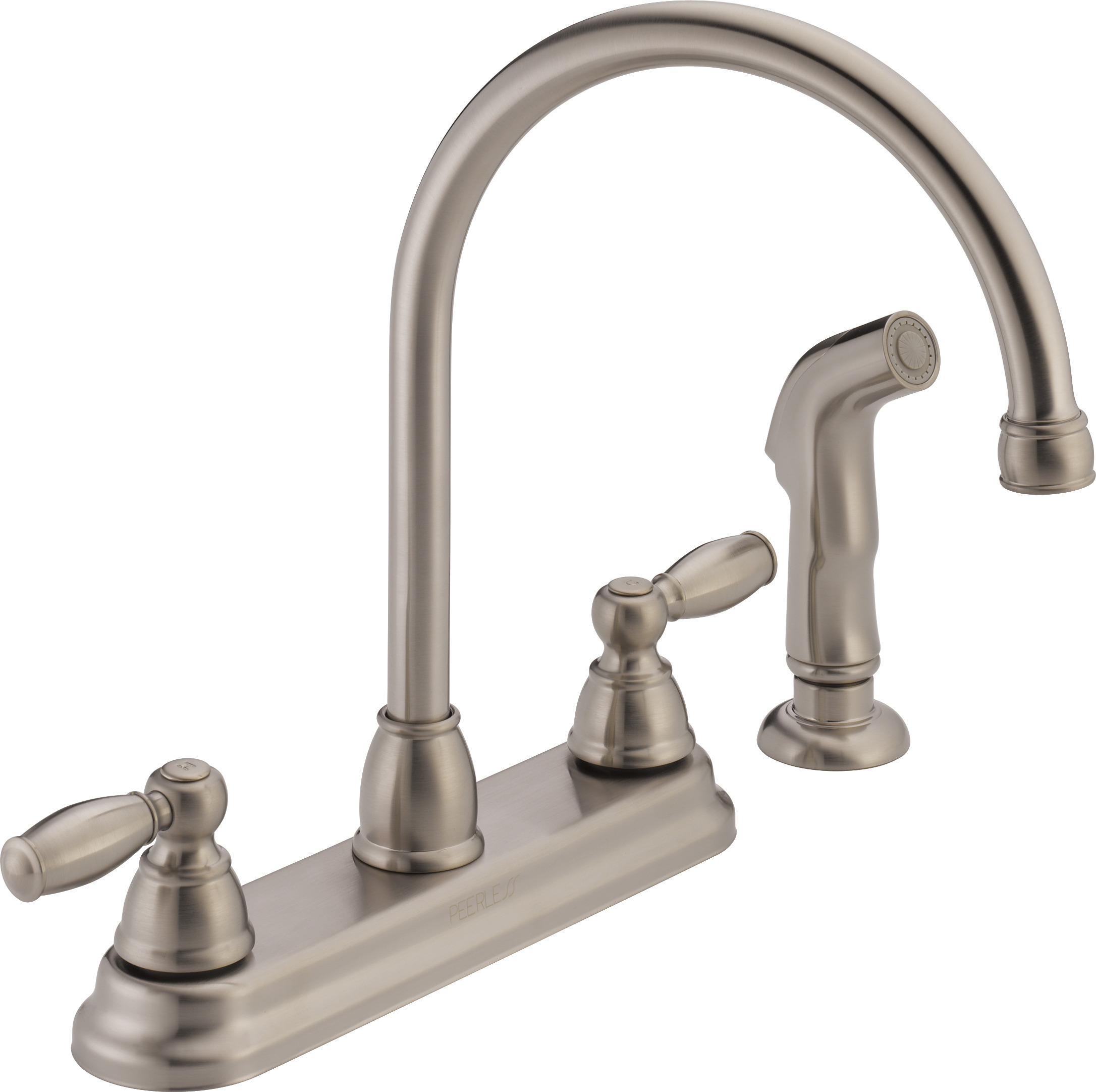 Peerless 2 Handle Kitchen Faucet With Side Spray, Stainless Steel