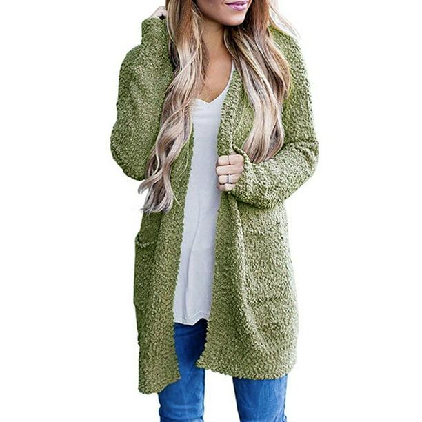 Women Open Front Sherpa Cardigan Coat Long Sleeve Fleece Fuzzy Oversized Warm Long Cardigan Sweater with Pocket