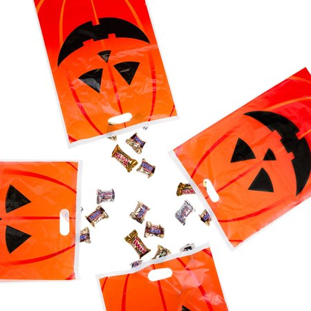 Jack-O-Lantern Orange Pumpkin Face Halloween Trick or Treat Plastic Candy Bags Party Favors Decoration Supplies (50 Bags) by Super Z Outlet