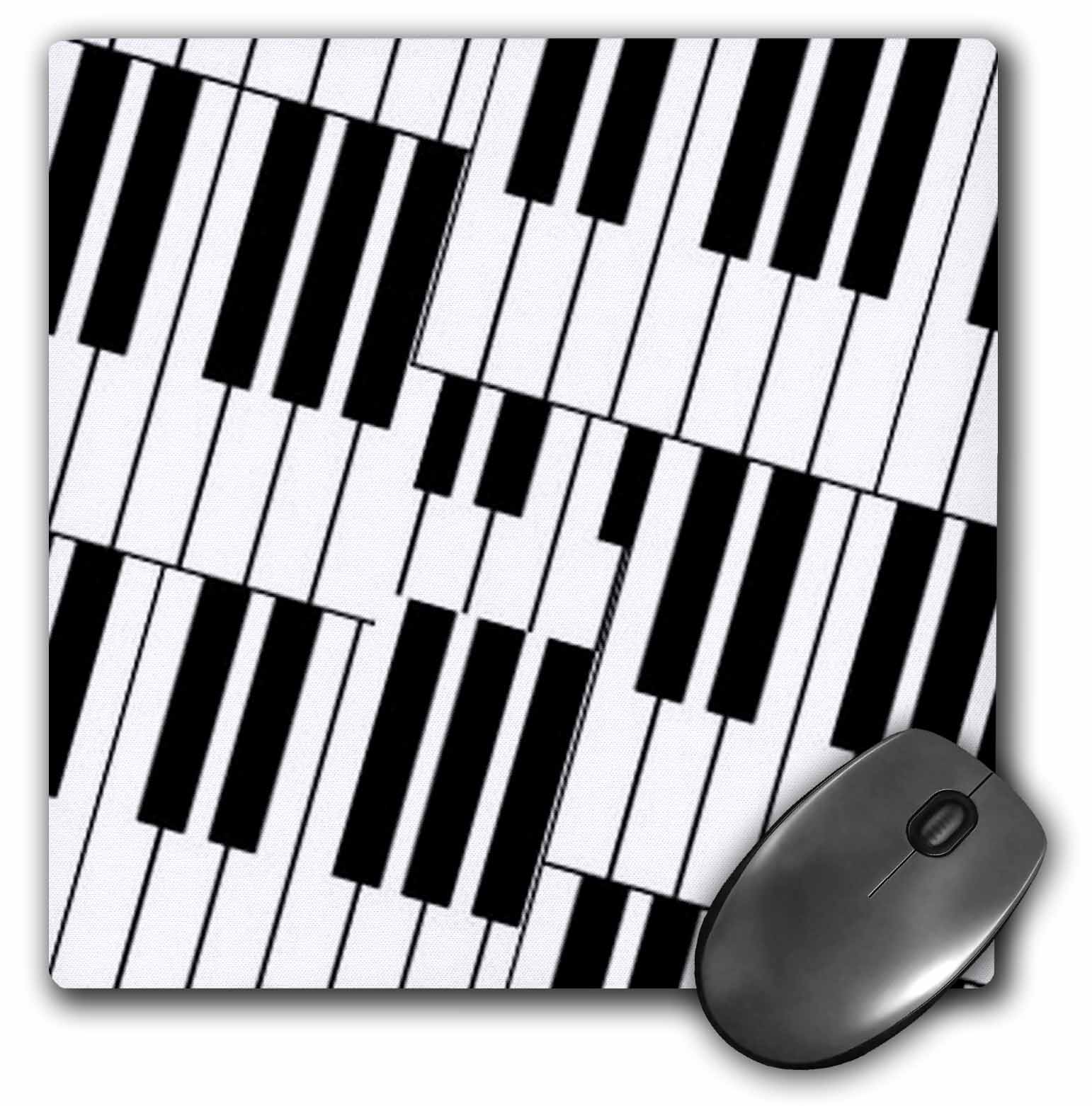 3dRose Piano Keys Background , Mouse Pad, 8 by 8 inches