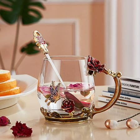 Grtsunsea Elegant Enamel Glass Rose Chrysanthemum Daisies Flower Butterfly Tea Cup Spoon Set Party Cup Wedding Gift