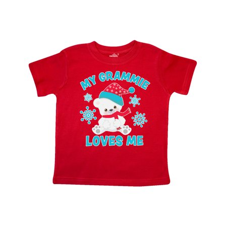 Polar Bear My Grammie Loves Me in Santa Hat with Snowflakes Toddler T-Shirt