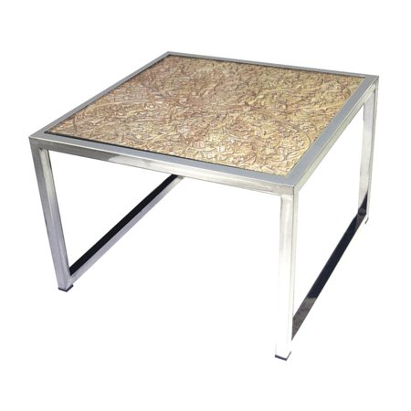 Dimond Square Coffee Table Natural Stainless Steel