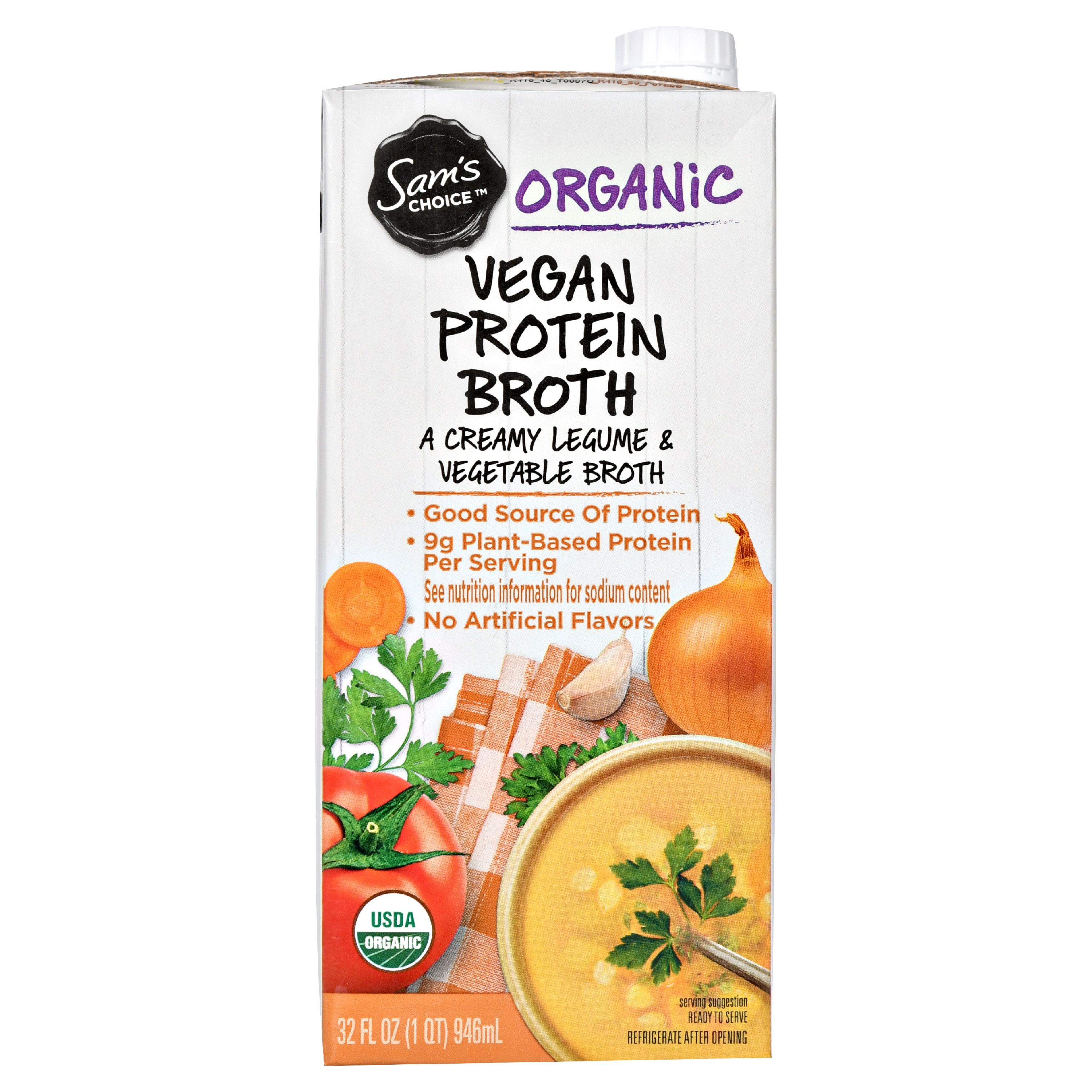 Sam's Choice Organic Vegan Protein Broth, 32 fl oz