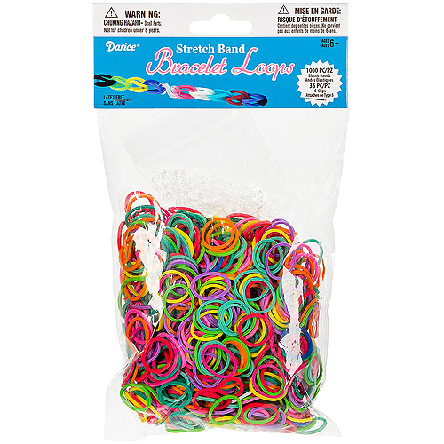 Mini Rubber Bands with 36 Clips, 1000-Pack, Multicolor