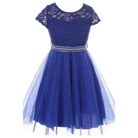 Little Girls Elegant Floral Lace Top Tulle Pageant Party Flower Girl Dress Royal Blue 4 (2J1K2S2)