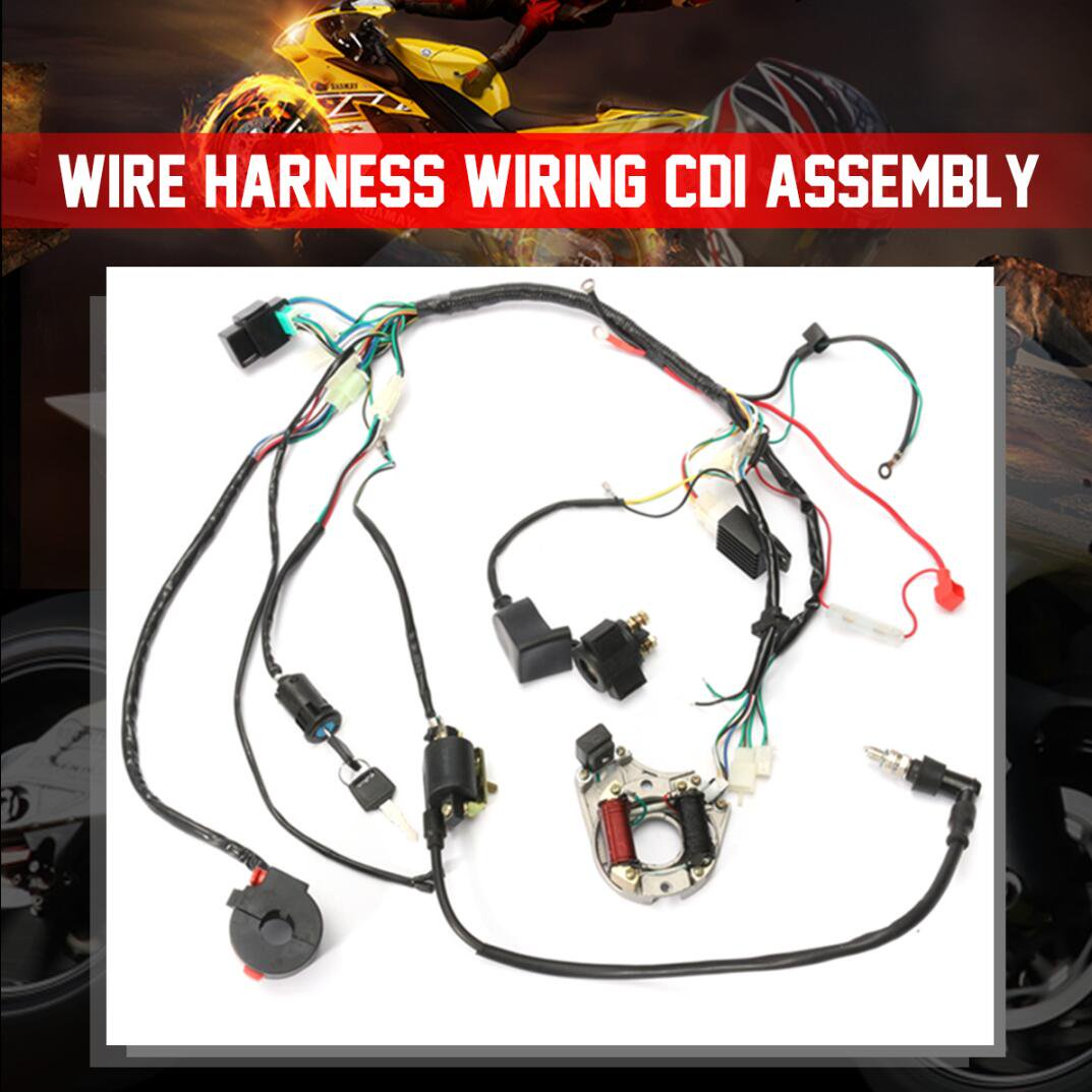 1 set wire harness wiring cdi assembly for 50 70 90 110cc 125cc atv wireharnes quad coolster go kart ATV Tail Light Wiring