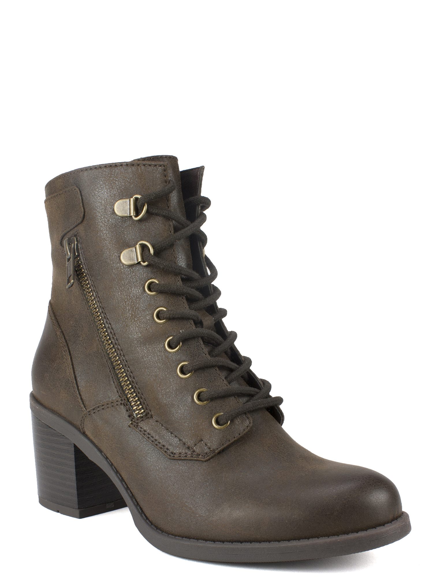 New Women Mark Maddux Travis-18 Leatherette Lace Up Sweater All Weather Bootie