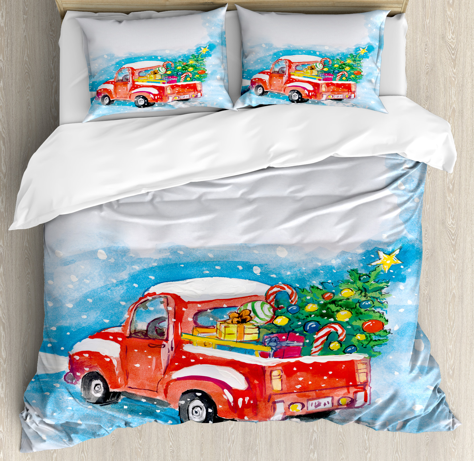 Christmas King Size Duvet Cover Set, Vintage Red Truck in Snowy Winter Scene with Tree and... by Kozmos