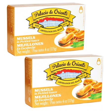 Shop Mussels (Mussels Escabeche (Pickled) Palacio De Oriente from Spain 4 oz (Pack of 2) )