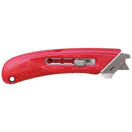 - S4L Safety Cutter, Left handed cutter with safety guard that covers the blade during top cutting of boxes, protecting user from potential injury By Pacific Handy Cutter