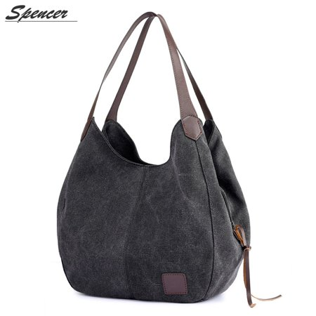 Black Satchel Tote - Spencer Fashion Women Multi-pocket Canvas Shoulder Bags Large Capacity Handbag Travel Tote Purse for Holiday