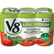 V8 Low Sodium 100% Vegetable Juice, 5.5 oz. Can (Pack of 6)