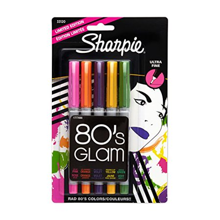 Sharpie Permanent Markers, Ultra Fine Point, 5-Pack, Assorted 2015 Colors (1919848) - Assorted Colors (80's Glam), 5 Pack (80s Glam Sharpies)