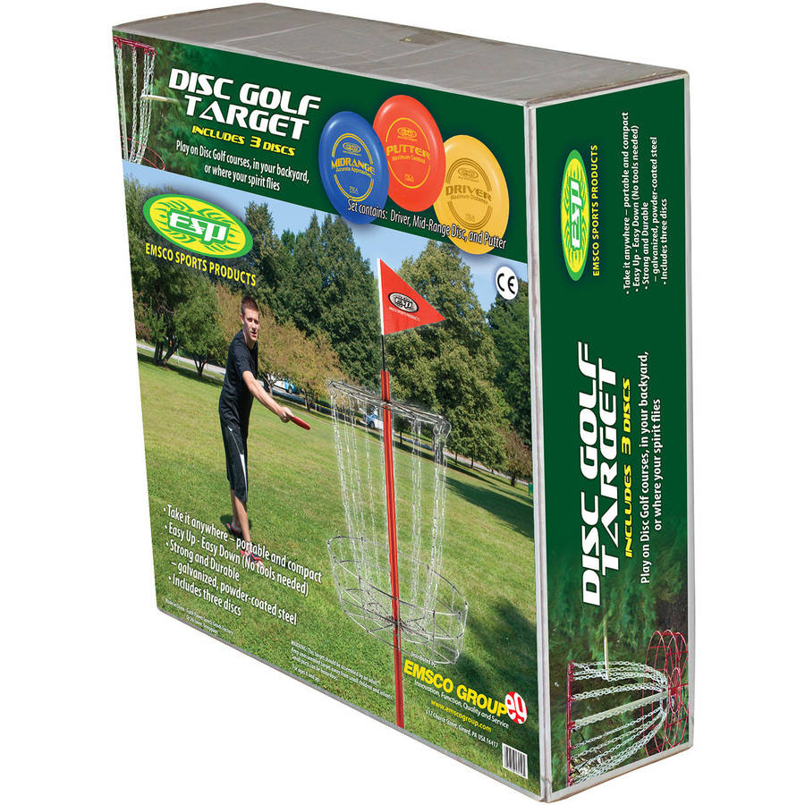 Emsco Group 53155 PDGA-Approved Disc Golf 3-Disc Set and Disc Golf Goal