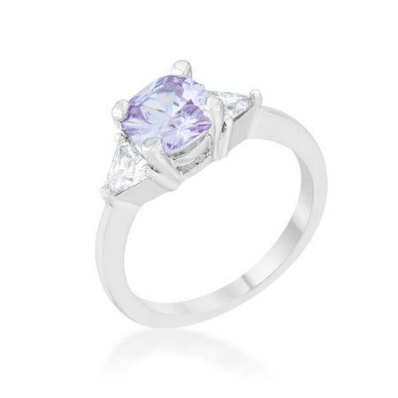 Womens Shonda 1.8 CT Cubic Zirconia Rhodium Cushion Classic Statement Ring, Lavender - Size 6