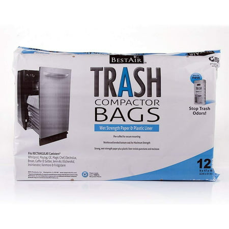 BestAir WMCK1335012-6 Heavy Duty Trash Compactor Bags, 16'' D x 9'' W x 17'' H, Pack of 1 (12 Bags) 18' Plastic Trash Compactor Bags