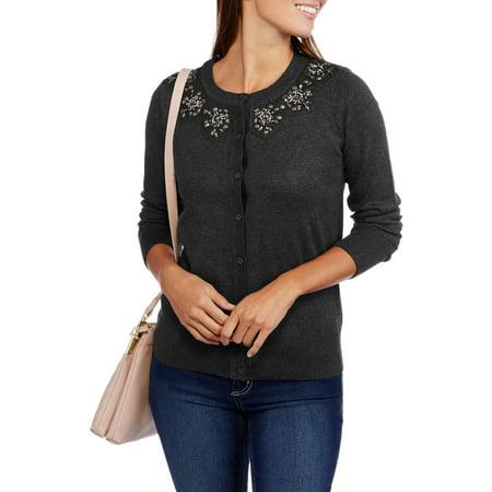 bb77f0986be9 Heart and Crush Women s Jewel Collar Cardigan Sweater - Walmart.com