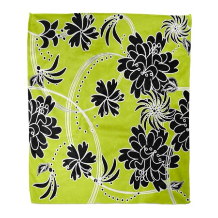 HATIART Flannel Throw Blanket Green Beauty Retro Floral Black Creative Dearness Flower Grey Soft for Bed Sofa and Couch 50x60 Inches - image 1 of 1