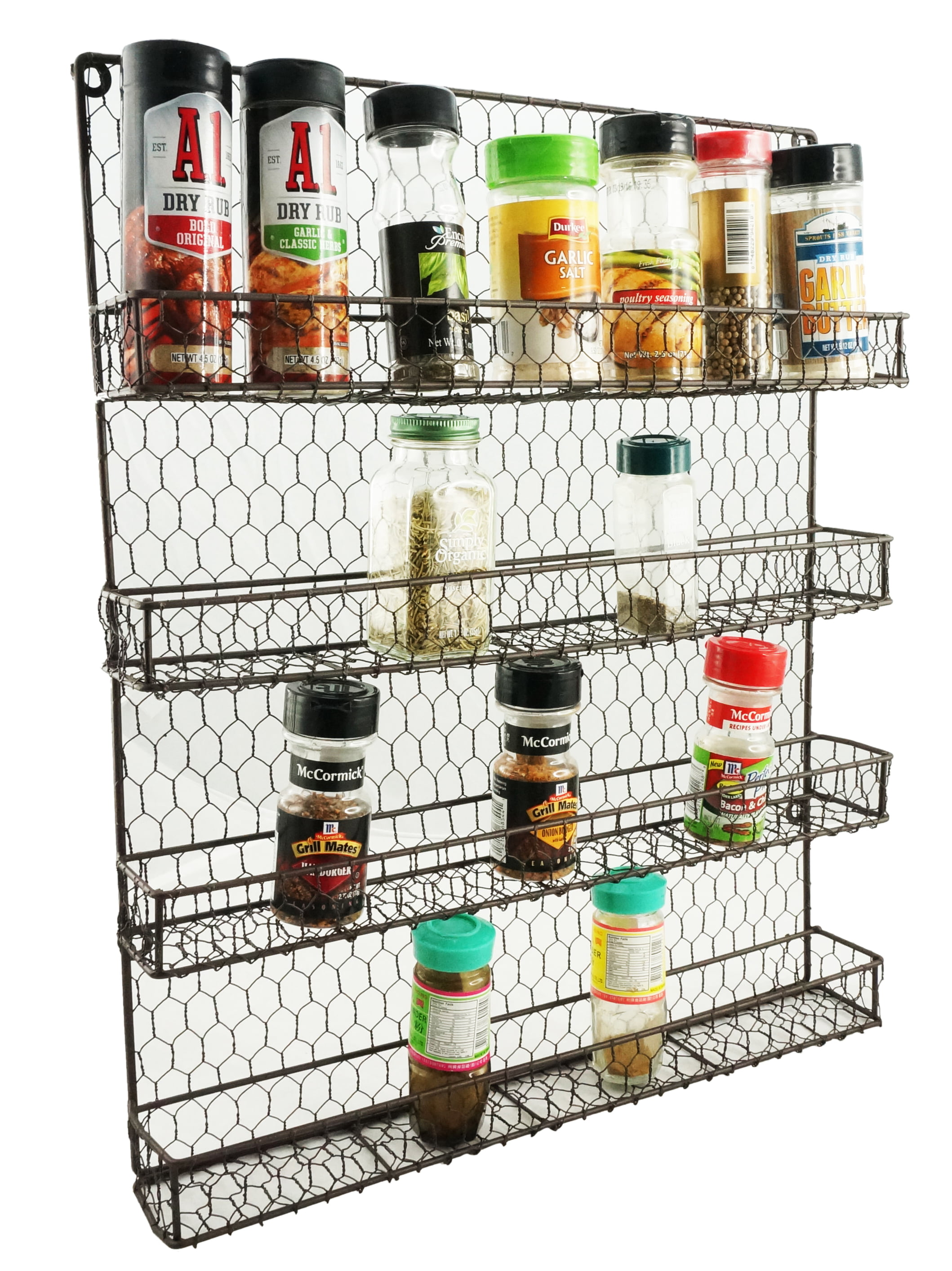 4 Tier Metal Spice Rack Wall Mount Kitchen Spices Organizer Pantry Cabinet Hanging Herbs Seasoning Jars... by K-Cliffs