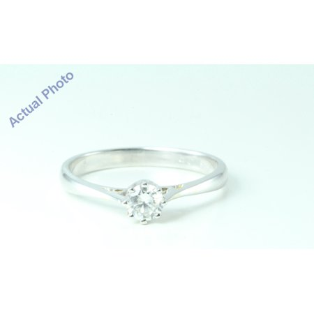 Crown Prong (14k White Gold Round Diamond Classic eight prong crown set solitaire engagement ring (0.27 Ct, I , SI3 ))