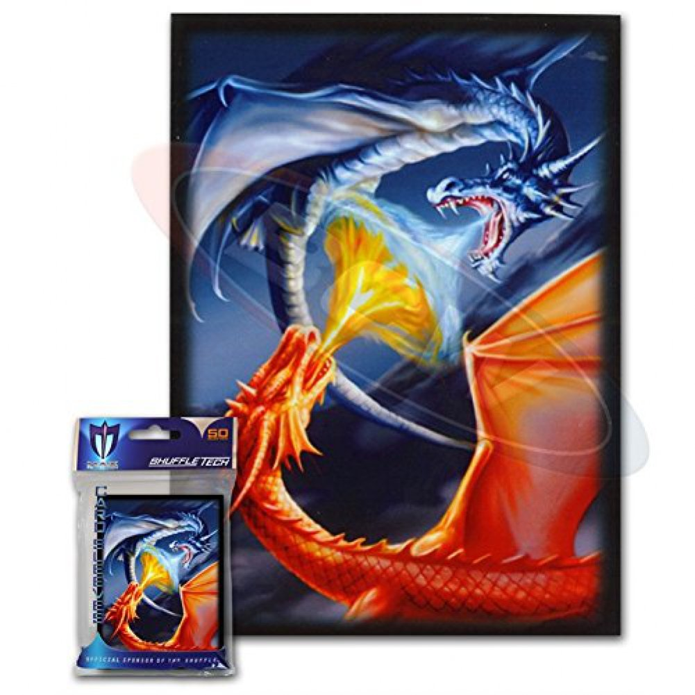 100 Fighting Dragons Deck Protectors Max Protection Shuffle Tech Art Sleeves 2-Packs - Standard Magic the Gathering Size Blue Red