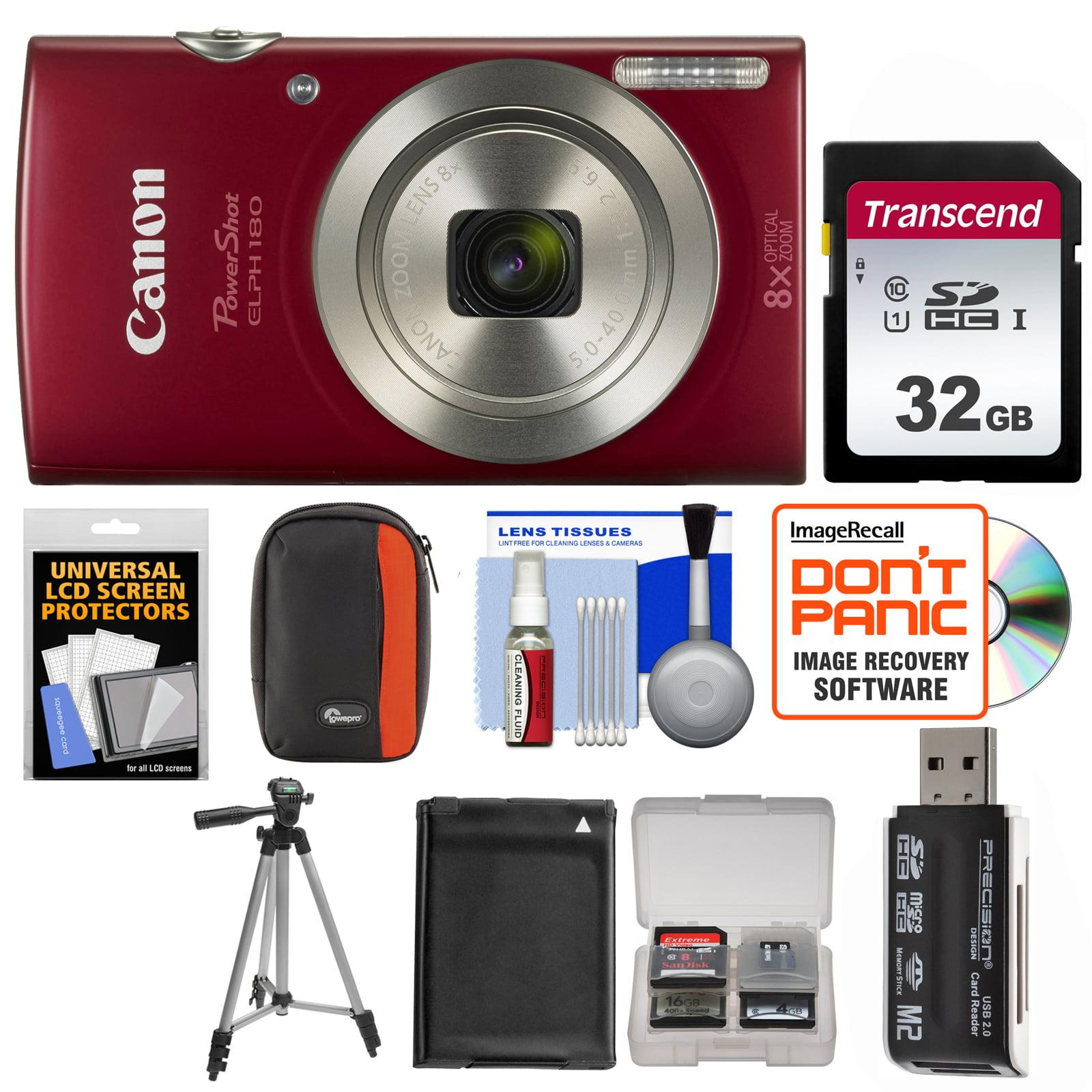 Canon PowerShot Elph 180 Digital Camera (Silver) with 32GB Card + Case + Battery + Tripod + Kit