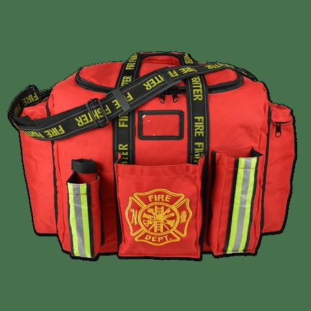 Lightning X Premium Firefighter Fireman Xl Step In Turnout Fire Bunker Duty Gear Bag W Shoulder Strap Front Operations Pockets Red