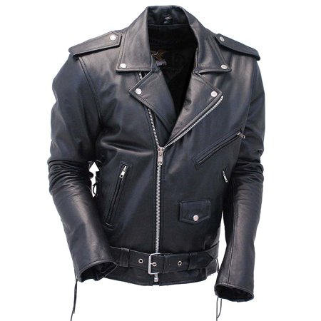 Classic Side Lace Motorcycle Jacket - Premium Classic Side Lace Leather Motorcycle Jacket #M15L