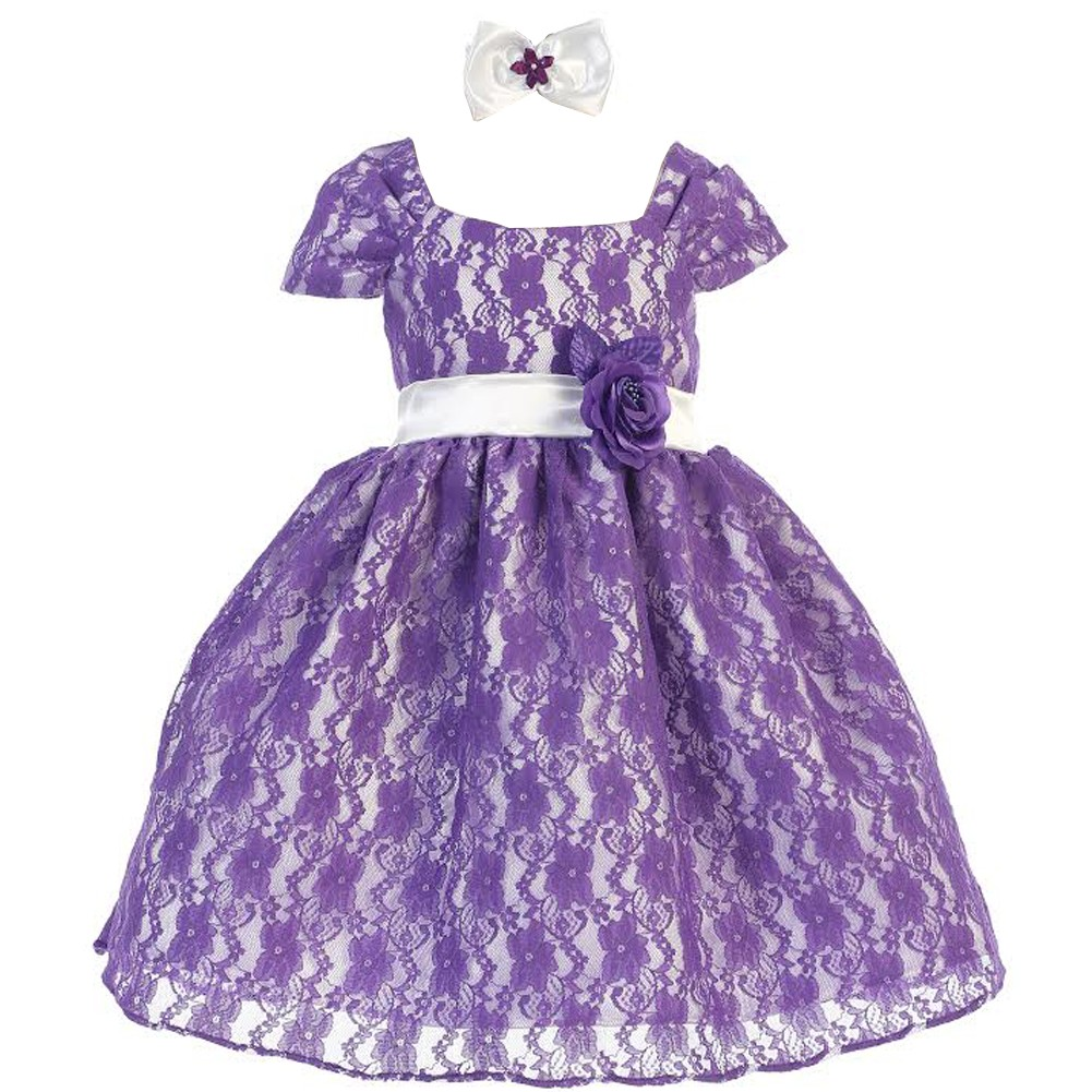 Baby Girls Purple Lace Satin Lining Special Occasion Headband Dress 6M