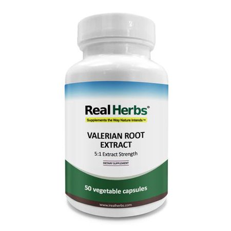 Real Herbs Valerian Root Extract - Derived from 3,500mg of Valerian with 5 : 1 Extract Strength - Natural Sleep Aid, Promotes Calmness and Peace of Mind, Soothes Muscle Pain - 50 Vegetarian Capsules