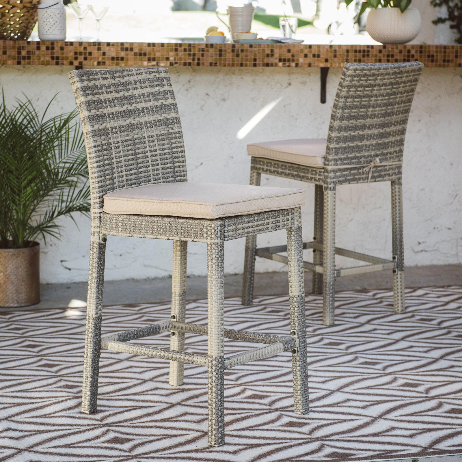 Coral Coast South Isle Wicker Patio Bar Stool Set of 2 Natural by