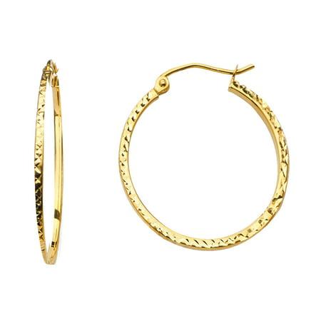 1.5mm 14K Solid Yellow Gold Square Tube Diamond Cut Hoop Earrings