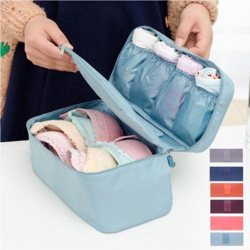 Convenient Portable Waterproof Travel Solid Color Zipper Underwear Storage Bag Bra Storage Bag Cosmetic Bag