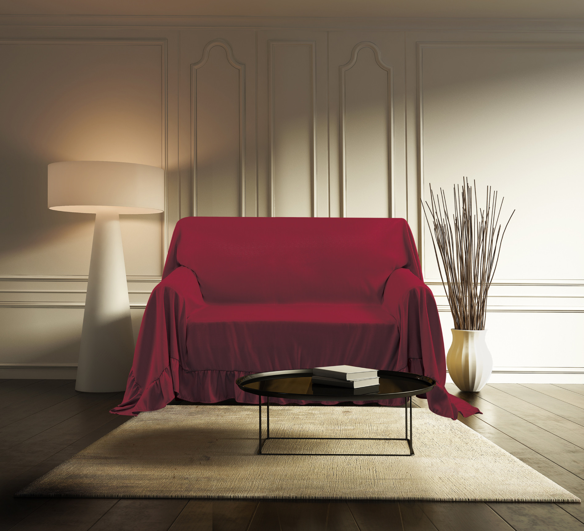 Venice Sofa Protector Throw Cover 70 x 140 Ruby