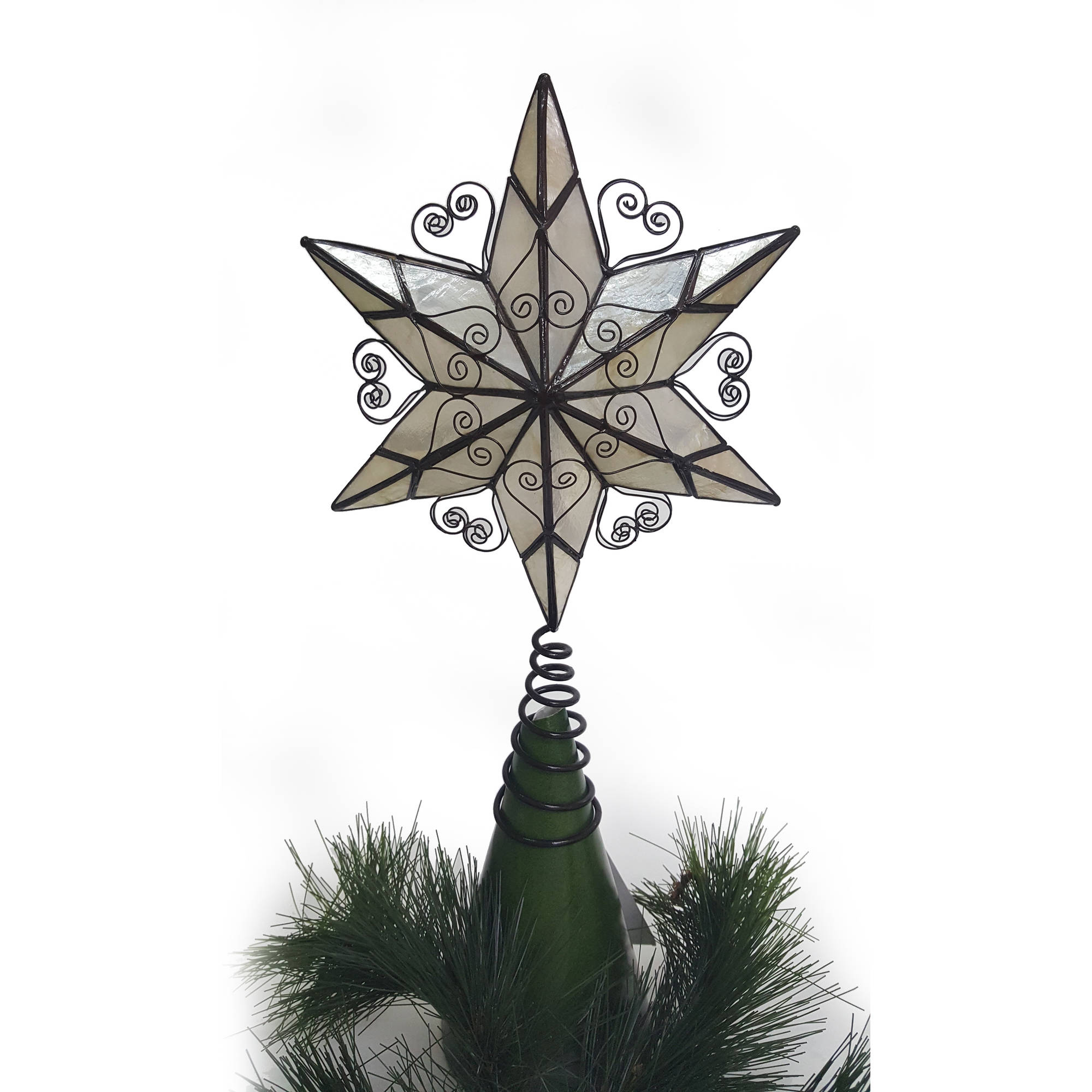 """Holiday Time Christmas Ornaments 10.50"""" Capiz Tree Topper ..."""