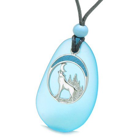 Large Sky Blue Frosted Sea Glass Howling Wolf Protection Amulet Puffy Water Drop Adjustable