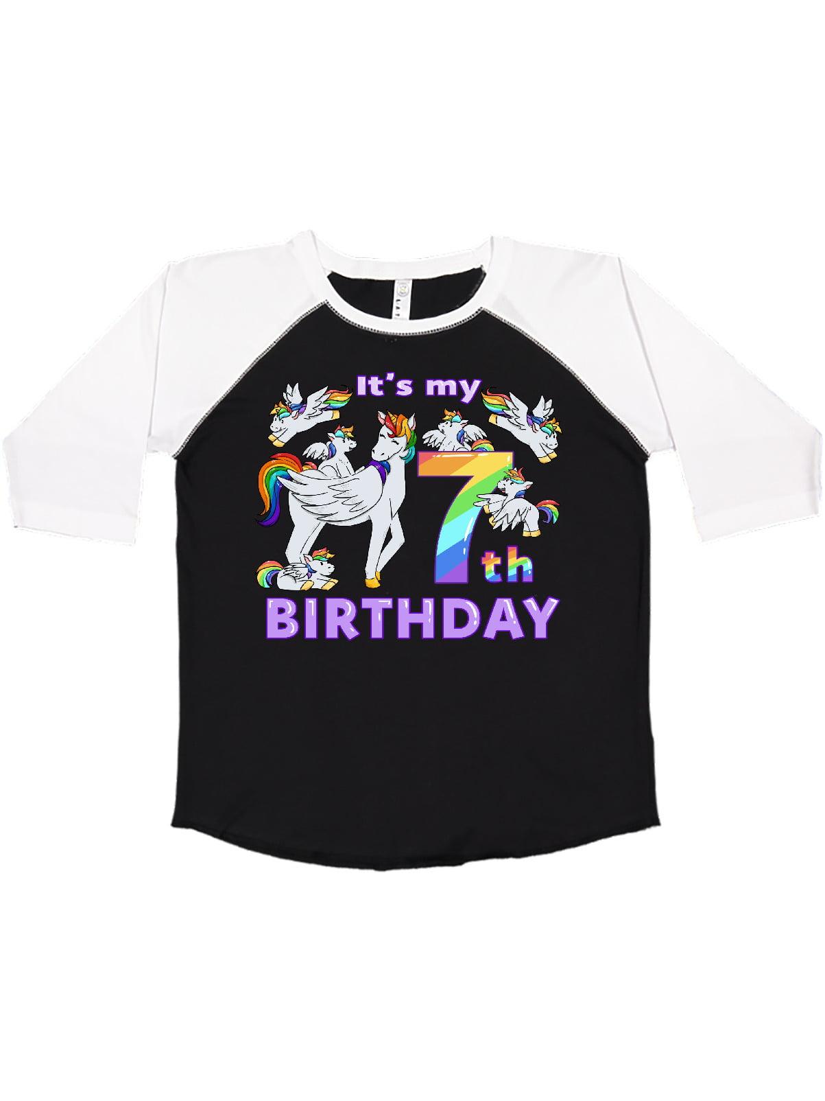 any number rainbow colors birthday tshirt or ruffle dress Unicorn 7th birthday