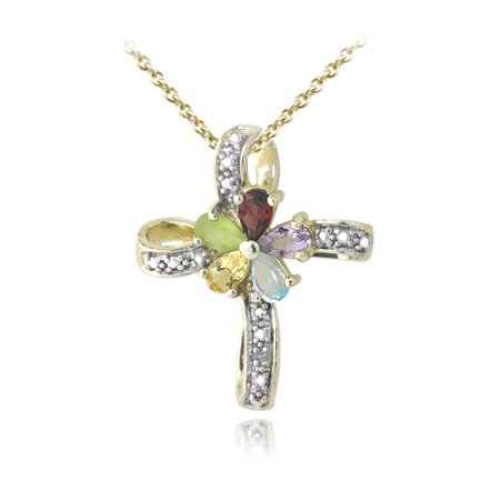18K Gold Plated Multi Gemstone & Diamond Accent Flower Cross Necklace