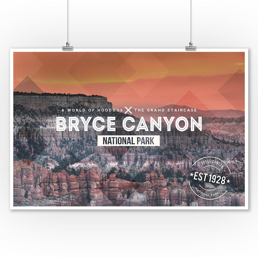 Bryce Canyon National Park, Utah - Rubber Stamp - Lantern Press Photography (9x12 Art Print, Wall Decor Travel Poster)