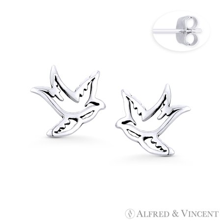 Swallow Bird Couple Love Charm Stud Earrings in .925 Sterling Silver