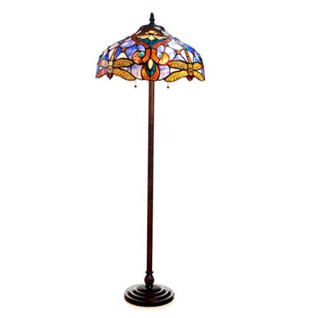 Chloe tiffany style victorian dragonfly design 2 light for Tiffany style lily bronze amber floor lamp