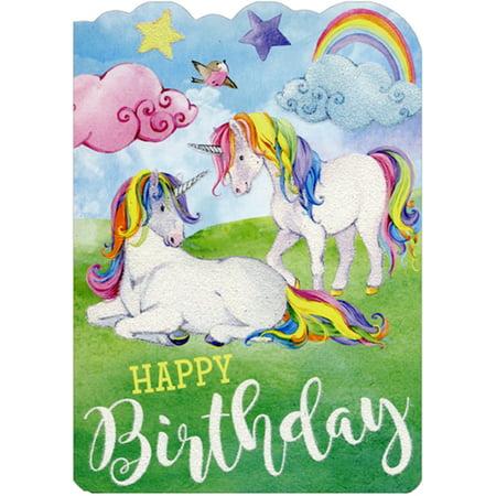Paper House Productions Rainbow Mane Unicorns Die Cut Glitter Birthday Card For Girls - Die Cut Cards