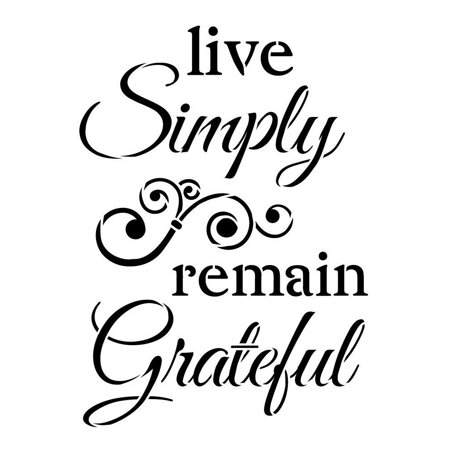 Live Simply Remain Grateful Stencil by StudioR12 | Elegant Swirl Word Art - Reusable Mylar Template | Painting, Chalk, Mixed Media | Use for DIY and Home Decor - STCL1225 SELECT SIZE (13.5