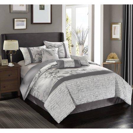 Better Homes And Garden Silver Script 7 Piece Comforter Set