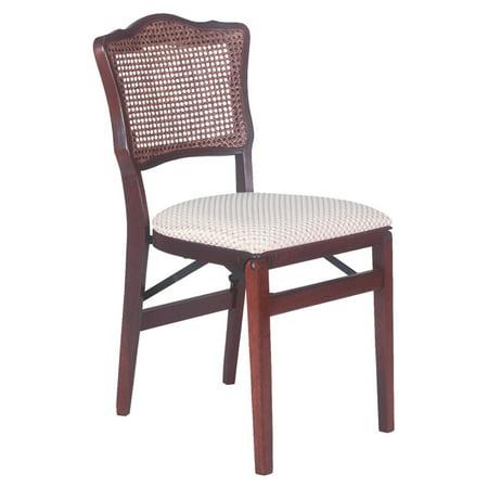 - French cane back hardwood folding chair - Light cherry