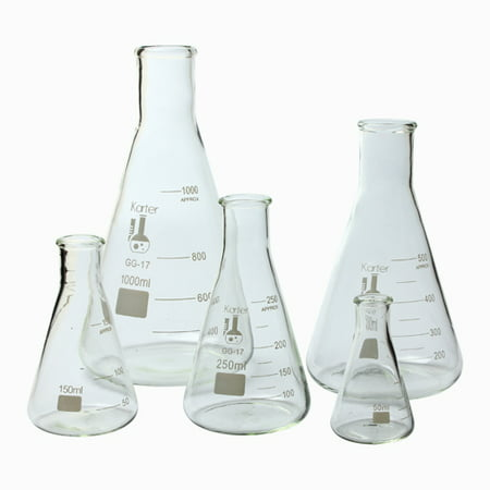 213B2 Karter Scientific Glass Erlenmeyer Flask 5 Piece Set 50, 150, 250, 500, & (Weight Of Empty 50 Ml Erlenmeyer Flask)