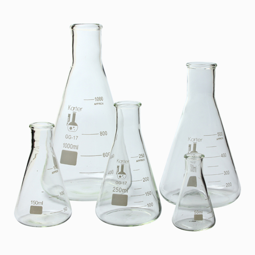 213B2 Karter Scientific Glass Erlenmeyer Flask 5 Piece Set 50, 150, 250, 500, & 1000ml